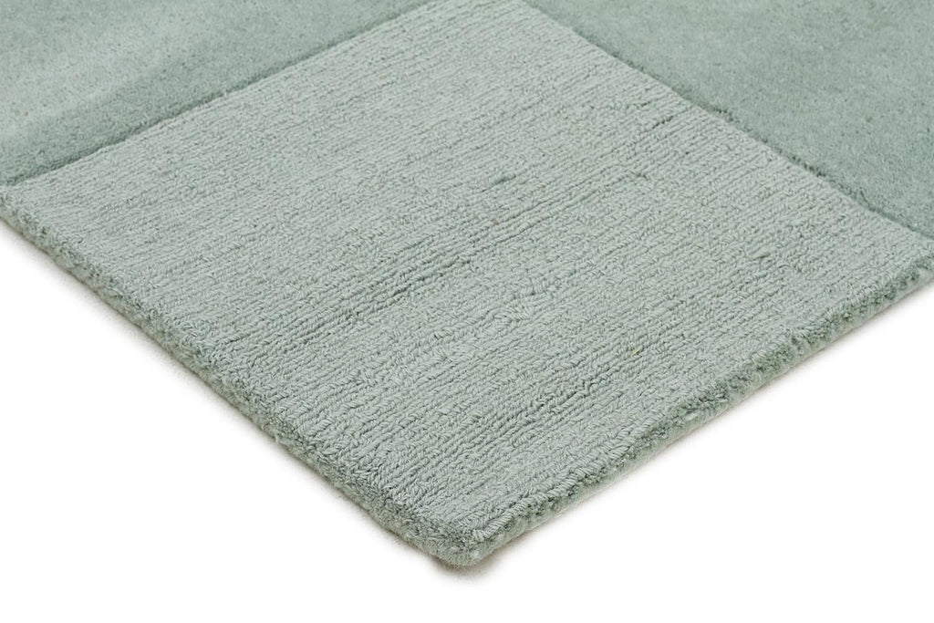 Timeless Boxed Pattern Wool Runner Rug Seafoam