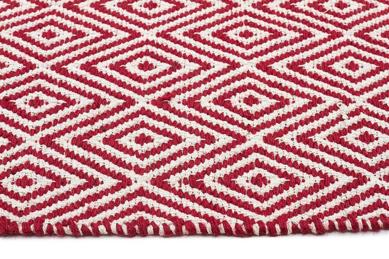 Abode Diamond Design Red Rug - Cheapest Rugs Online - 3