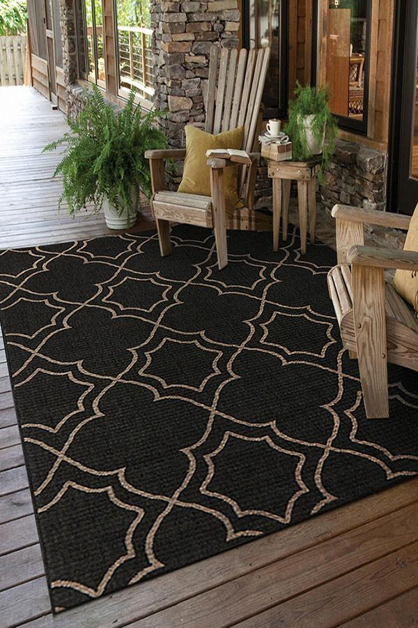 Alfresco Indoor Outdoor Collection 6510 Charcoal Rug