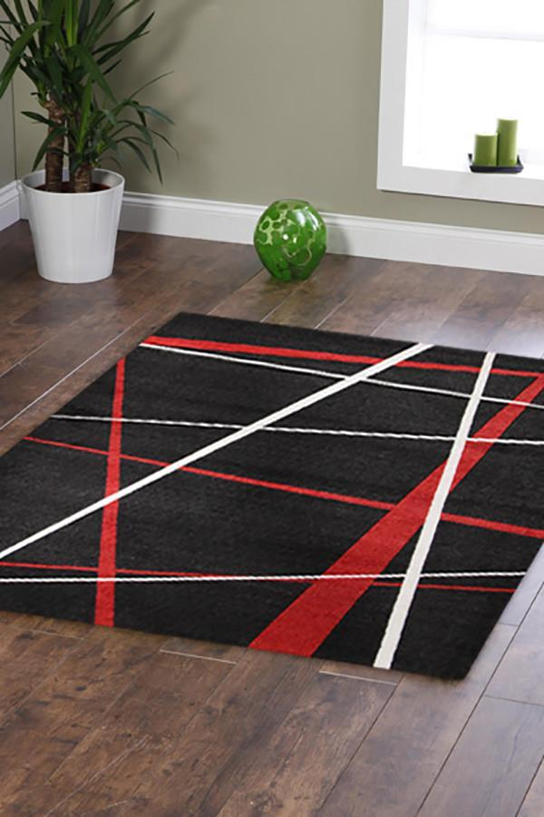 City Modern Lines Rug Black Red