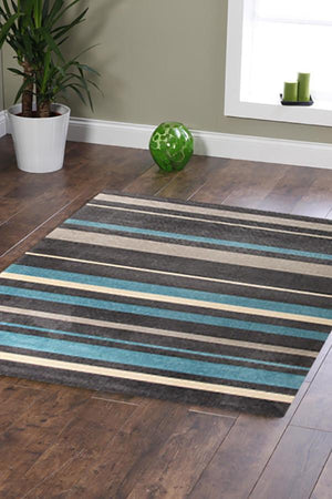 City Stylish Stripe Rug Charcoal Blue