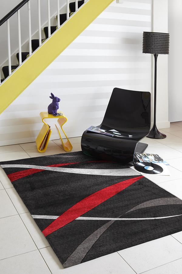 City Ribbon Pattern Rug Black