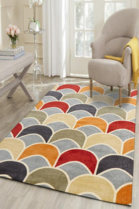 City Awesome Fish Scale Design Rug Blue Red