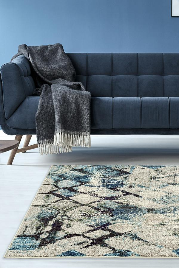 Crystal Maroc Transitional Modern Rug Blue