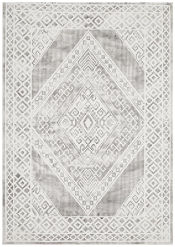 Castle Millie Transitional Black White Grey Rug