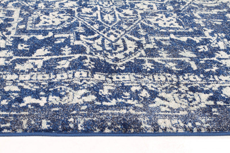 Evoke Contrast Navy Transitional Runner Rug