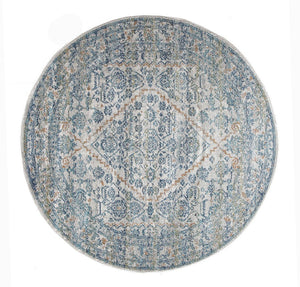 Evoke Duality Silver Transitional Round Rug