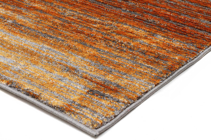 Harmony Pandora Contemporary Stripe Rust Grey Rug