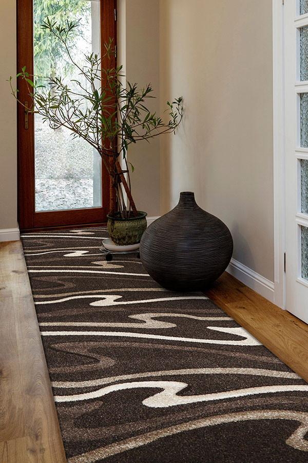 Icon Modern Swirls Runner Rug Dark Brown