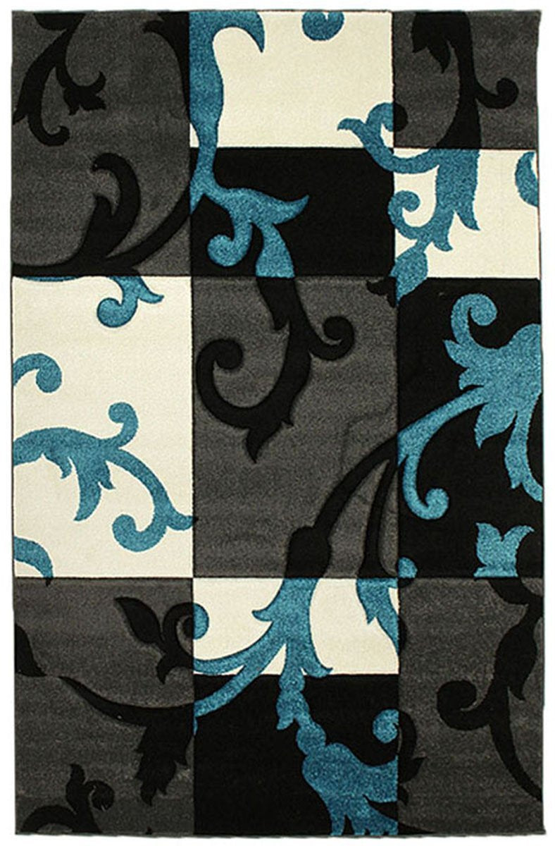 Icon Squares and Vines Rug Charcoal Blue