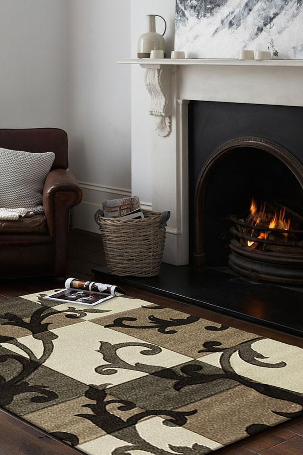 Icon Squares and Vines Rug Beige Brown