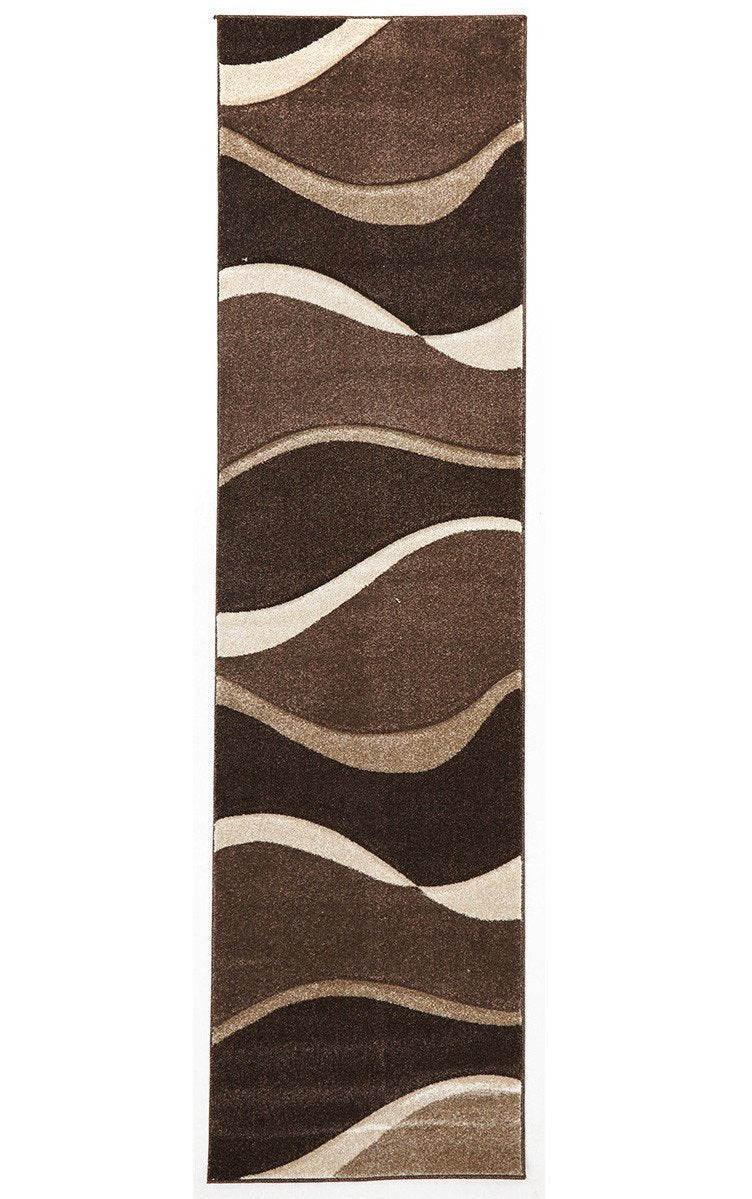 Icon Subtle Waves Runner Rug Brown Beige
