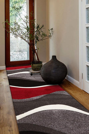 Icon Subtle Waves Runner Rug Red