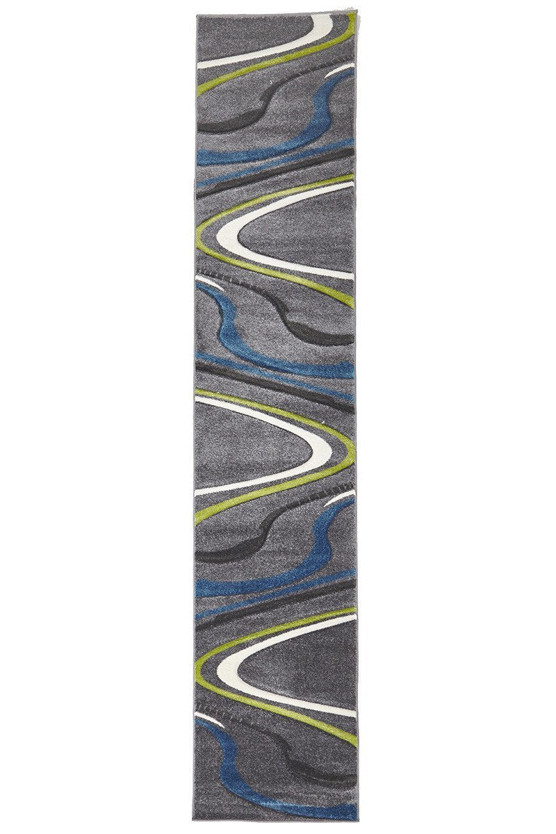 Icon Ultra Modern Swirl Runner Rug Grey Blue Green