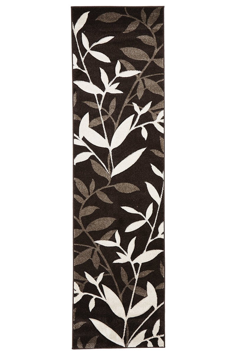 Icon Stunning Spring Leaf Runner Rug Dark Brown