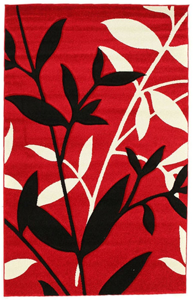 Icon Stunning Spring Leaf Rug Red Black
