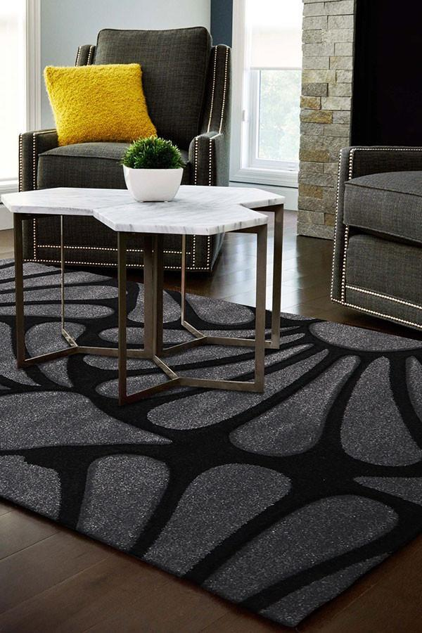 Icon Damask Modern Fern Rug Charcoal Black