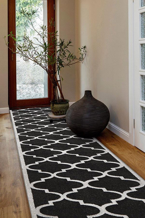 Icon Cross Hatch Modern Runner Rug Charcoal