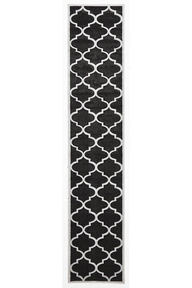 Icon Large Modern Trellis Runner Rug Charcoal
