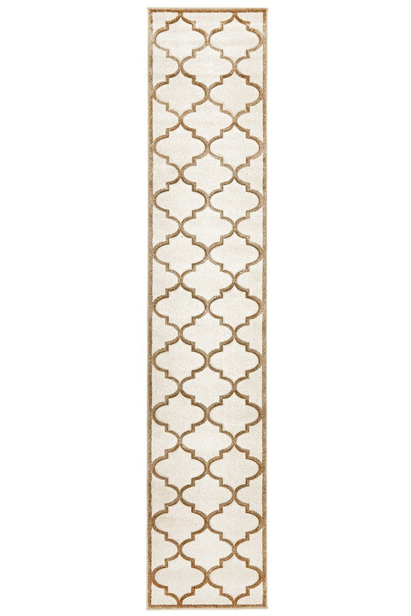 Icon Damask Modern Fern Runner Rug Natural