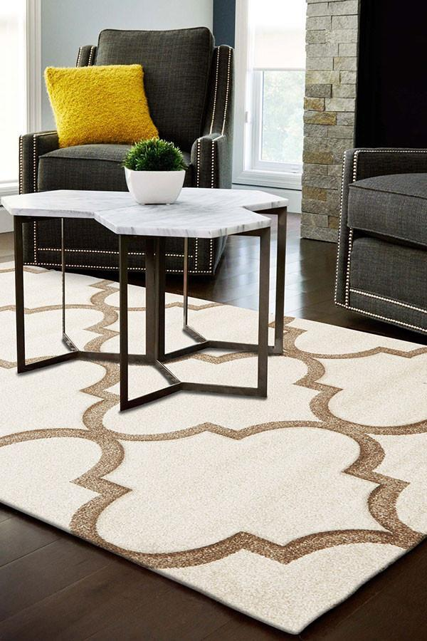Icon Large Modern Trellis Rug Natural