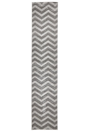 Icon Modern Chevron Design Runner Rug Silver