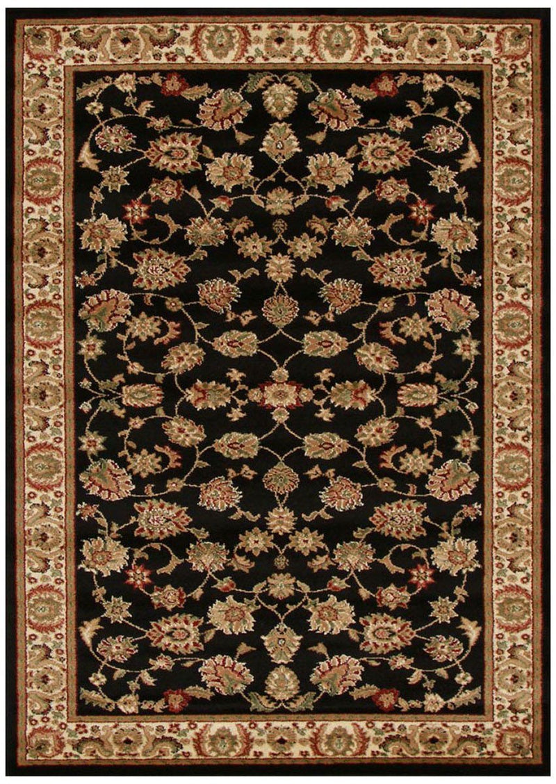 Istanbul Collection Traditional Floral Pattern Black Rug