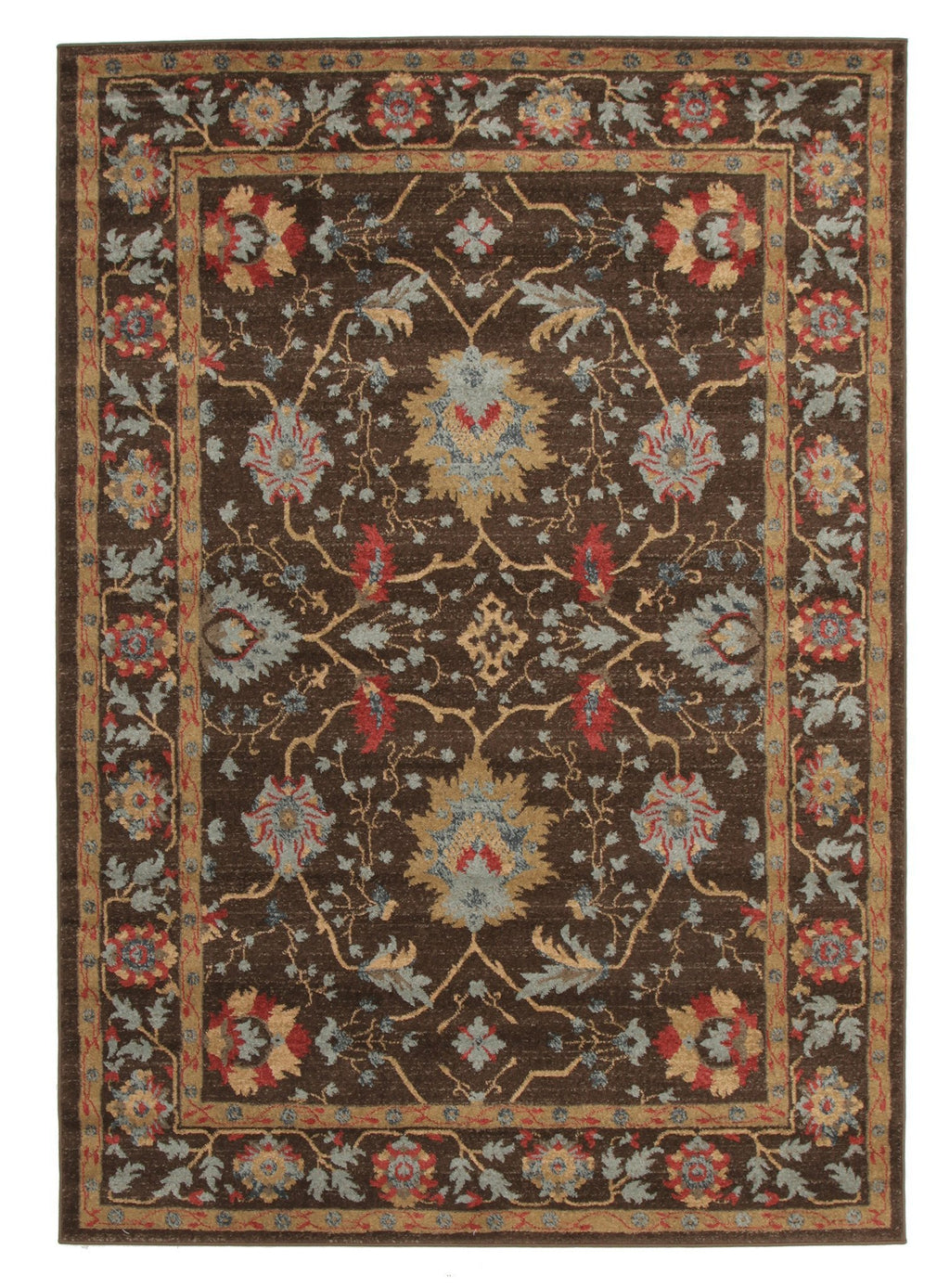 Jewel Nain Design 804 Brown Red Rug