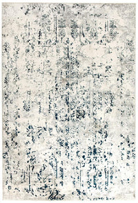 Kendra Farah Distressed Contemporary Rug White Blue Grey