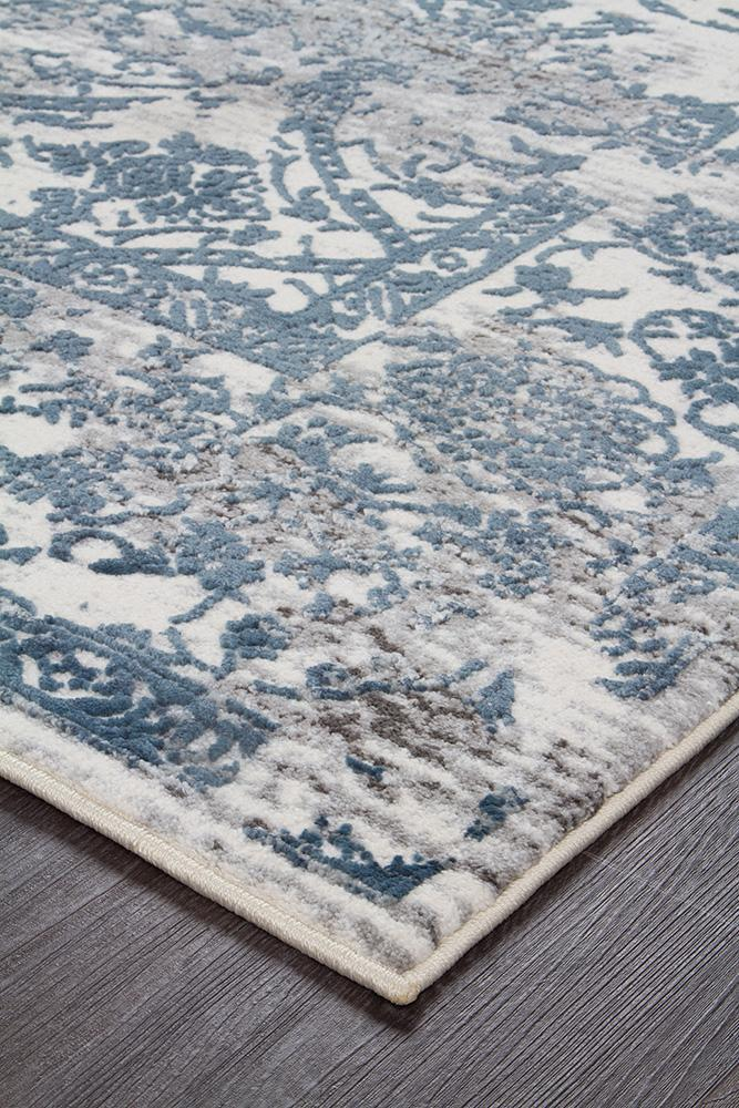 Kendra Yasmin Distressed Transitional Rug White Blue Grey