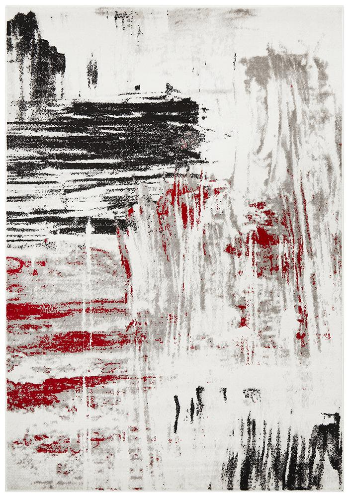 Lydia Abstract Rug Red Black White Grey