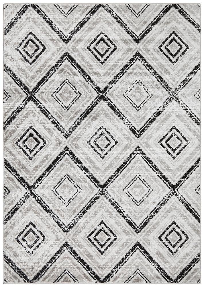 Sabrina Geo Diamonds Rug Grey Black