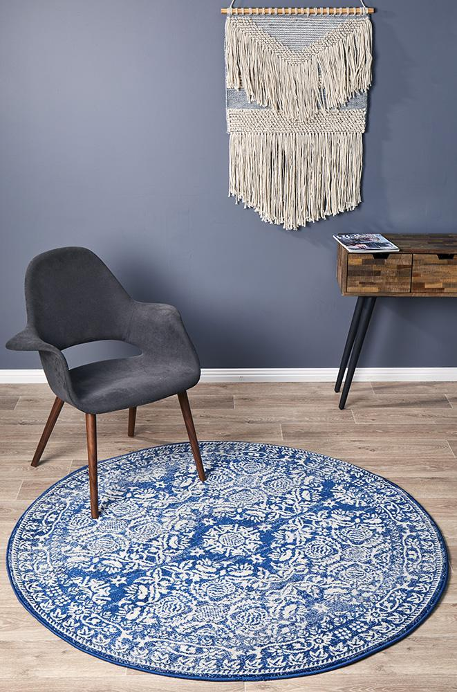 Mirage Gwyneth Stunning Transitional Navy Round Rug