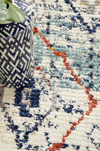 Marrakesh 444 Blue Runner Rug