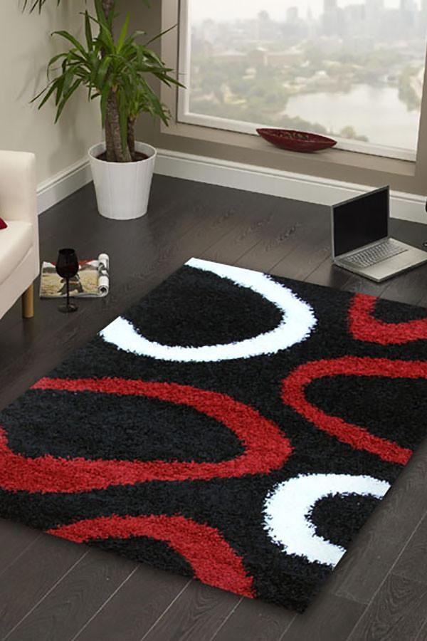 Notes Collection 2 Black Red And White Rug