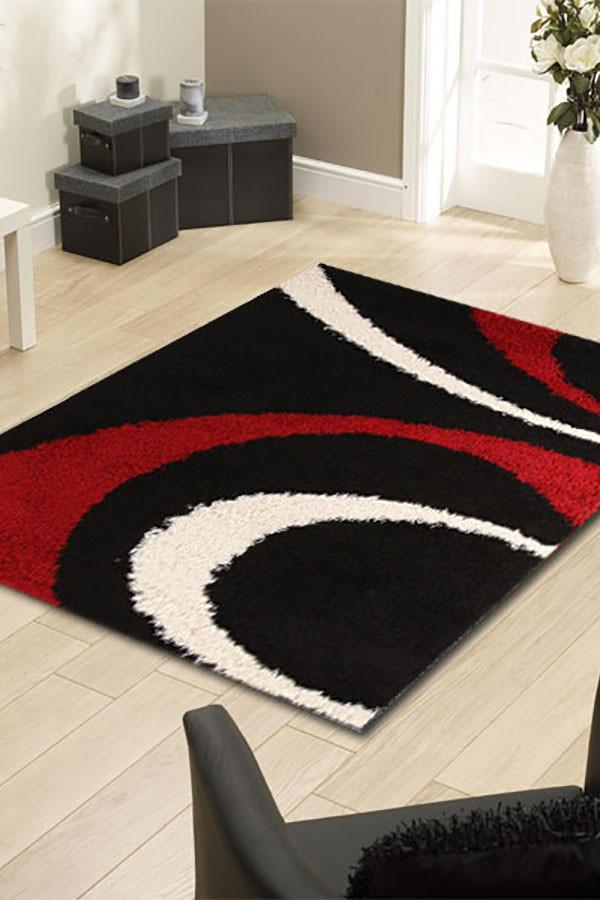 Notes Collection 7 Black And Red Rug