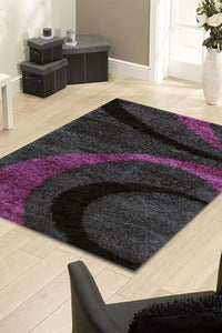 Notes Collection 7 Charcoal And Purple Rug