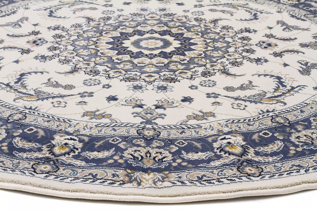 Palace Manal Oriental Round Rug White Blue