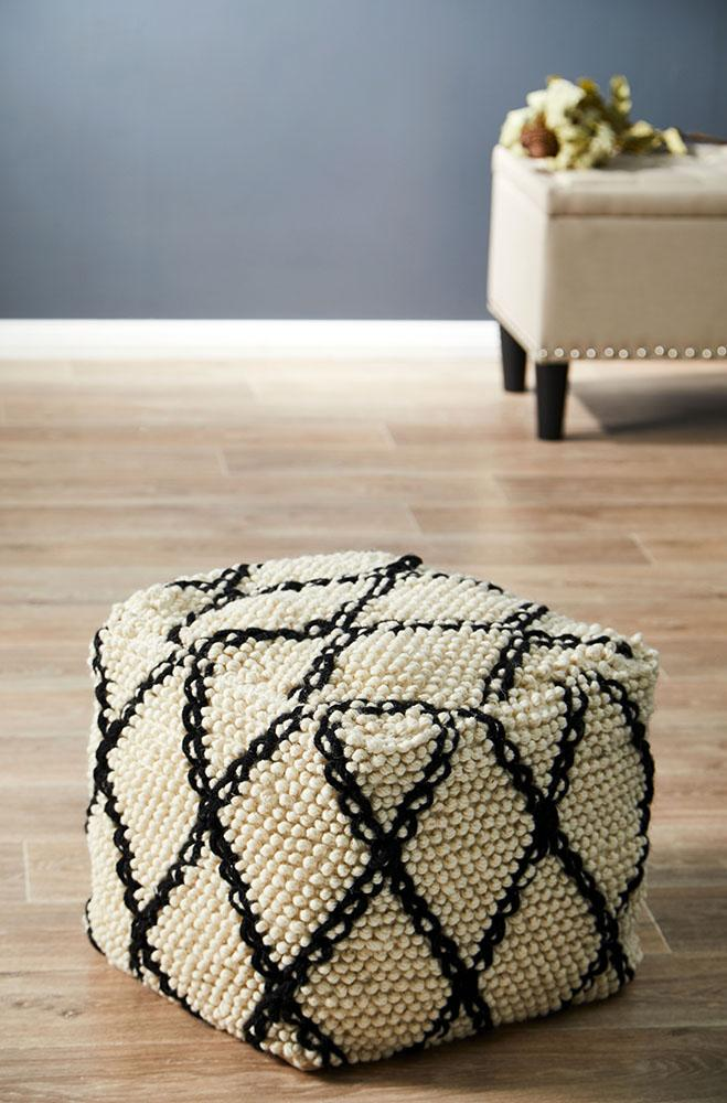 Rug Culture Home 509 White Ottoman
