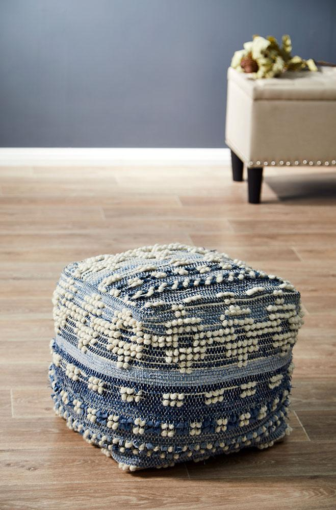 Rug Culture Home 511 Blue Ottoman