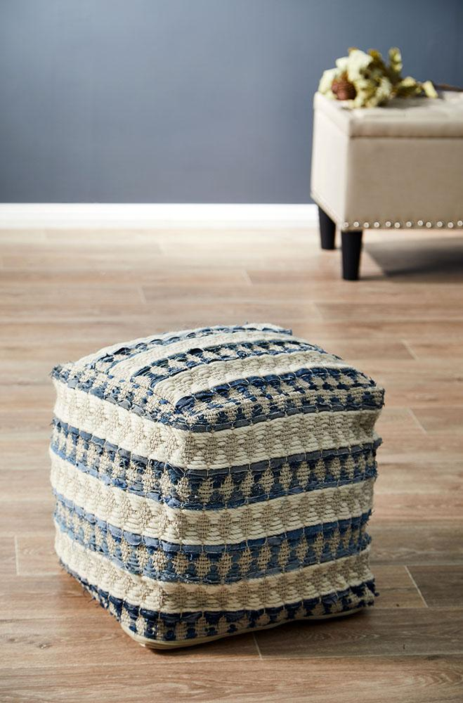 Rug Culture Home 515 Blue Ottoman