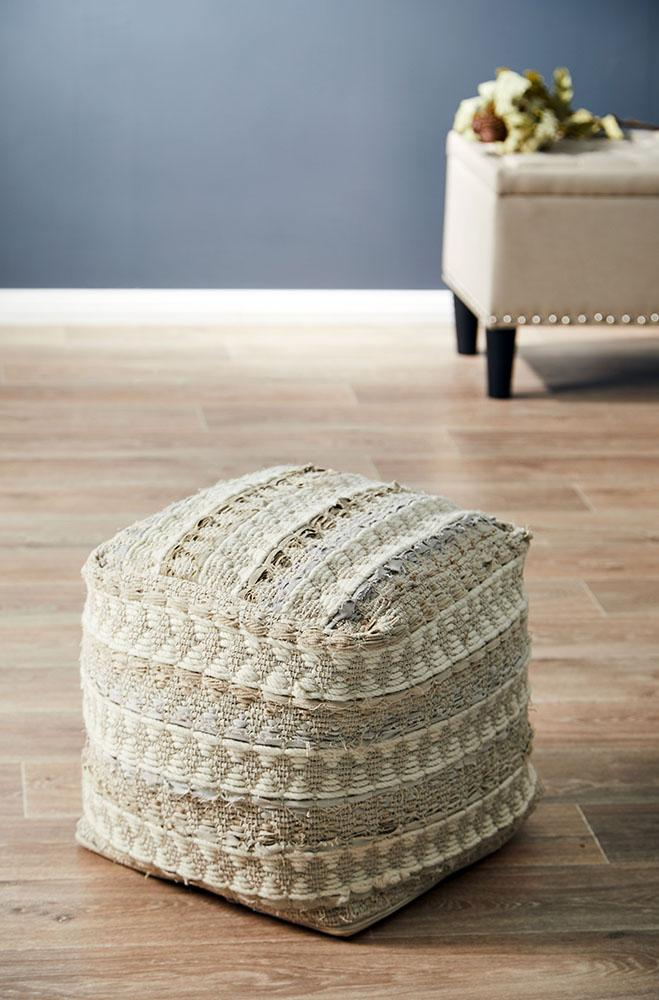 Rug Culture Home 515 White Ottoman