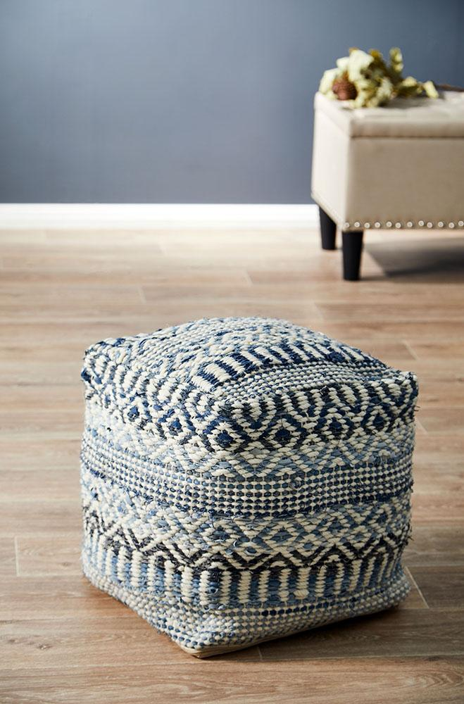 Rug Culture Home 519 Denim Ottoman