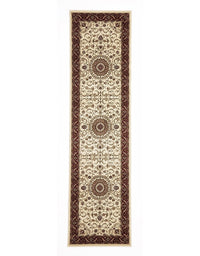 Sydney Medallion Runner Ivory with Red Border Runner Rug