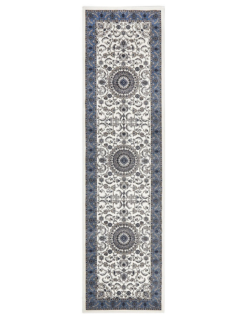 Sydney Medallion Runner White with Blue Border Runner Rug