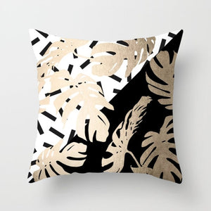 Golden Leaf B&W-Throw Pillows