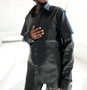 Unisex Leather Button Up Shirt
