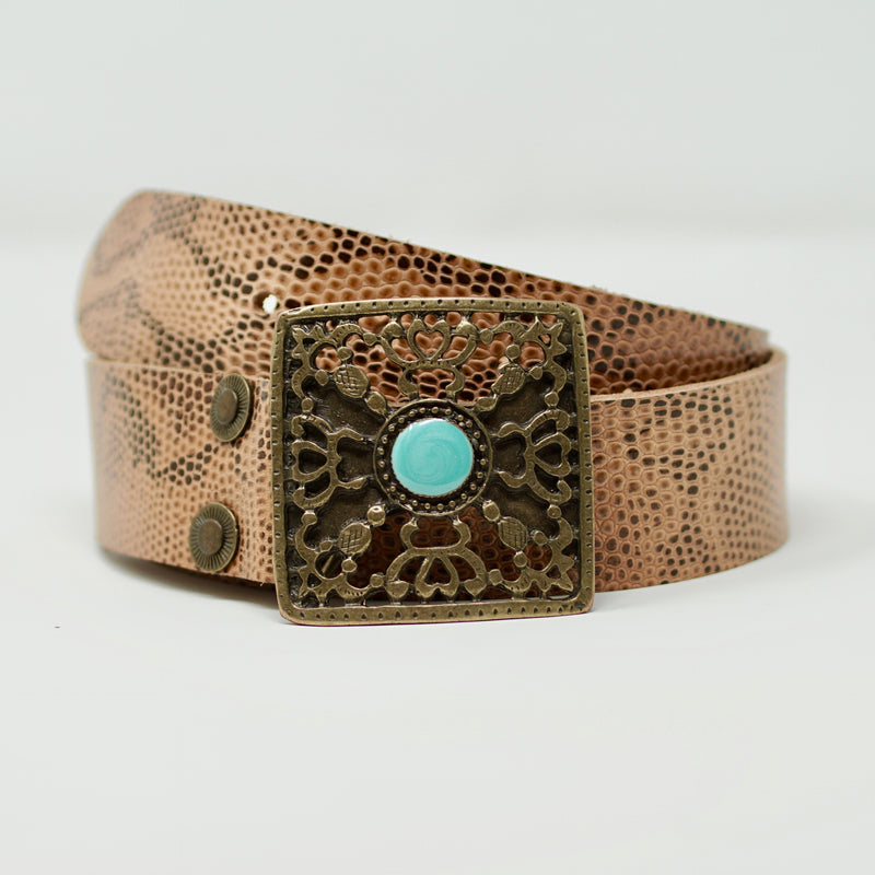Empire Belt in Beige Brown Snake