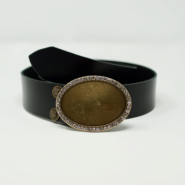 Black Simplicity Belt with Gold - BARCELONADOGS