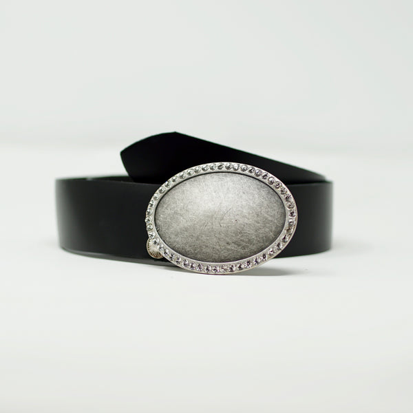 Black Simplicity Belt with Silver